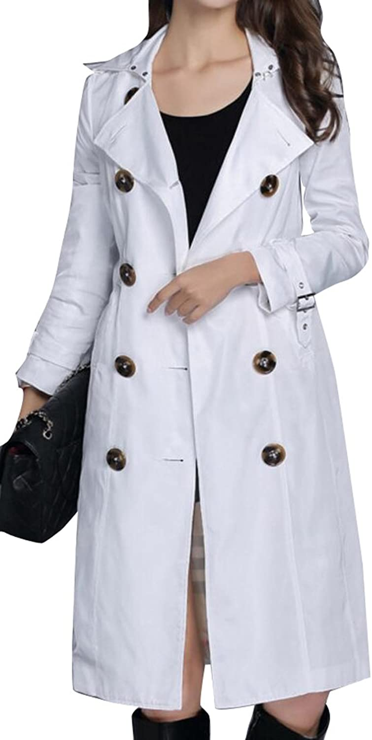 WAYAWomen Casual Double Breasted Long Sleeve Lapel Collar Trench Coats
