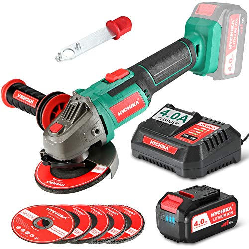 Angle Grinder 18V, HYCHIKA 4.0Ah Fast Charge Cordless Grinder Tool with 5 Pcs 115mm Grinder Disc 8500RPM, 3-Position Adjustable Handle, Powered by Lithium-ion Battery Great for Grinding and Cutting