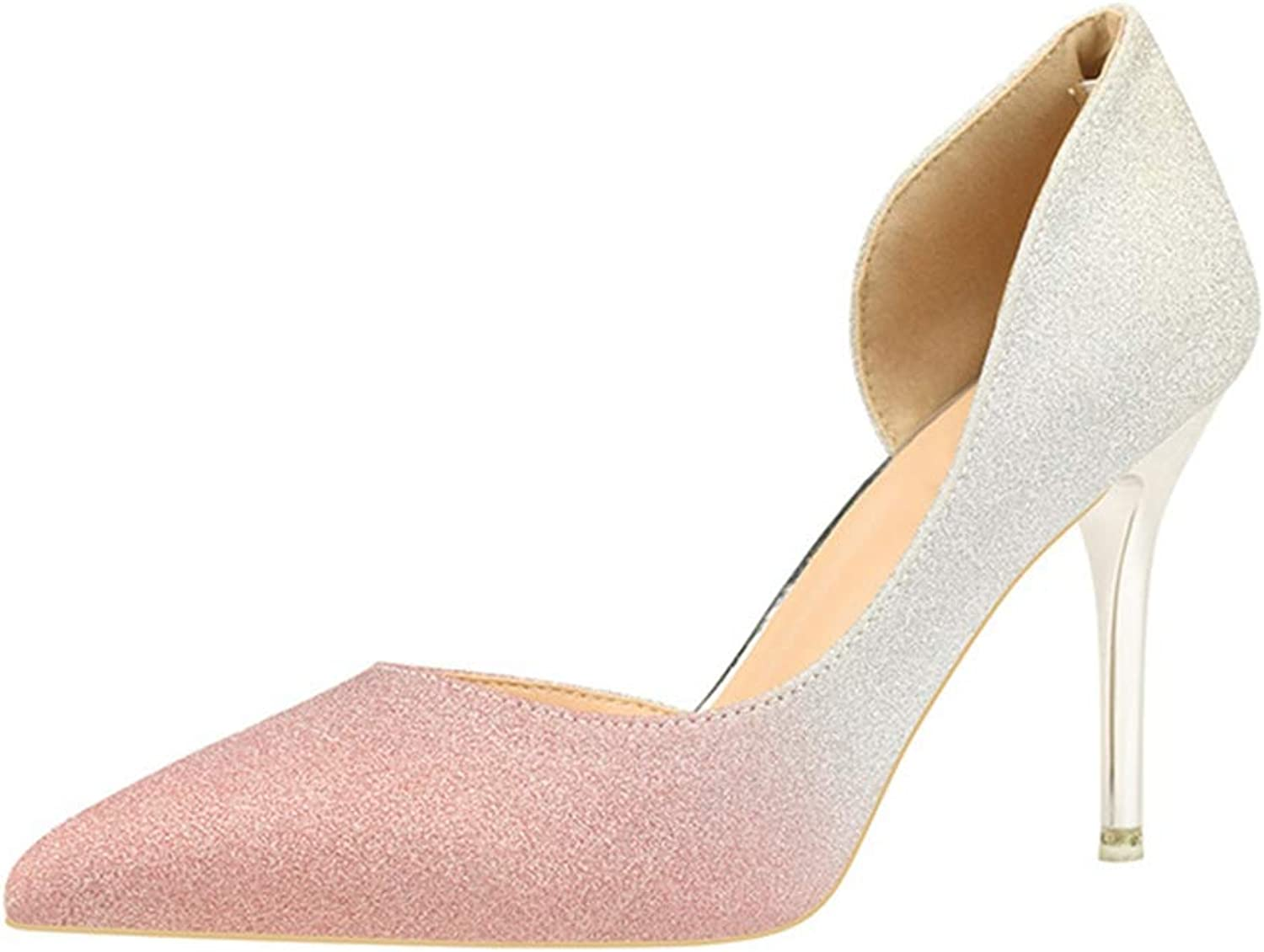 Sam Carle Women's Pumps,Fashion Comfortable High Heel Grey Pink Dress Wedding Pump