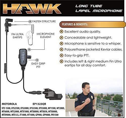Hawk Lapel Mic for Motorola XTS Radios Includes Fin Ultra Earmolds