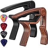 Capo,Guitar Capo for Acoustic Electric Bass Ukulele Guitar,Rosewood Color Kapo Black Capos 2-Pack .