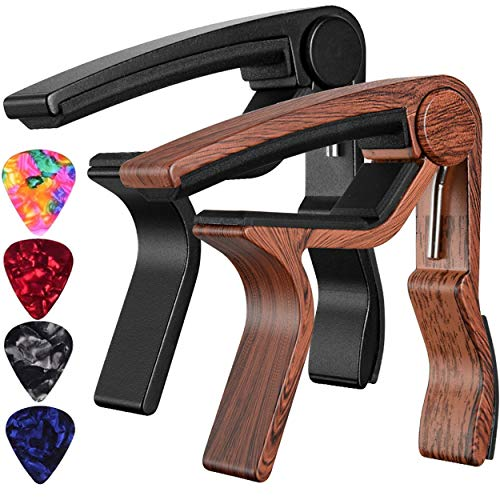 Capo Guitar Capo Rosewood Color Capo Black Capo 2-Pack Guitar Capos for Acoustic,Electric,Ukulele and Bass(1Rosewood+1 Black)