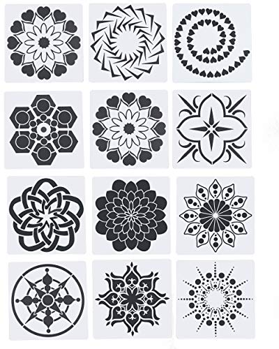 Floranea 12 Pcs Mandala Dotting Stencils Reusable Plastic Small Painting Templates on Rock Wall Airbrush Wood Canvas for DIY Art Craft Supplies Journaling Drawing Scrapbooking