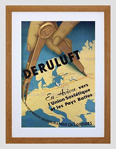 Wee Blue Coo reisvliegtuig Avion Sovjet Moskou Berlijn Parijs kaart ingelijst muur Art Print
