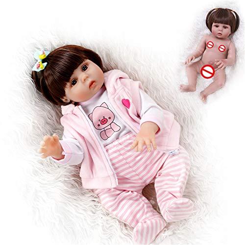 HWZZ Handgemachtes Weiches Silikon 47Cm Wiedergeborenes Baby Lebensechte Braune Augen Neugeborenes Mädchen Spielzeugpuppe Vinyl Geburtstagsgeschenk, Bester Begleiter,47cm