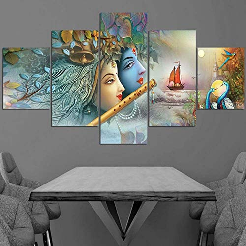 ASFQW Canvas Painting 5 Piece Painting Wall Art feet Radha Krishna Framed 5 Pieces Canvas Print Poster Modular Picture Decor Kids Room Modern Artwork (60''Wx31''H)