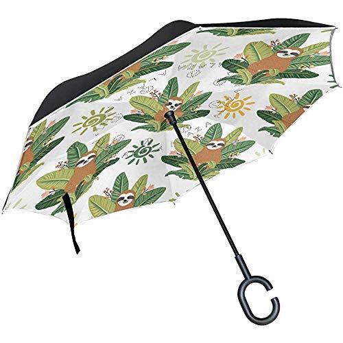 Jacque Dusk Paraguas-Paraguas Invertido Cute Yoga Baby Sloths Sentado Palm Leaf UV Anti Impermeable A Prueba De Viento Reverse Paraguas Plegables con Mango En Forma De C