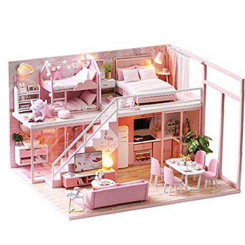 YepYes DIY Regalo casa de muñecas Mini Kit de Madera casa de muñecas en Miniatura Modelo Accesorios Artesanía de Juguete de Regalo de cumpleaños para los niños Style1
