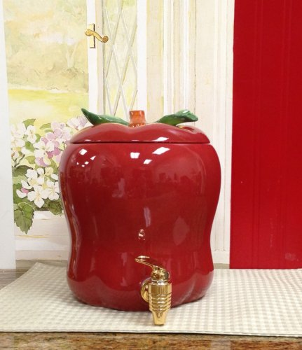 Tuscany Red Apple Shaped Kitchen Ceramic Water/Beverage Dispenser