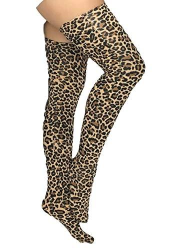 Insun Unisex Halterlose Strümpfe Lycra Strümpfe Kniestrümpfe für Halloween Cosplay Kostüm Party Zubehör Leopard