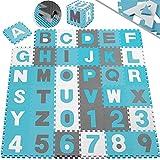 [page_title]-KIDIZ® 86 teilige Puzzlematte Kinderspielteppich Spielmatte Spielteppich Schaumstoffmatte Kinderteppich, Puzzle Zahlen und Buchstaben, Maß je Matte ca. 31,5 x 31,5 cm Schutzmatte Blau