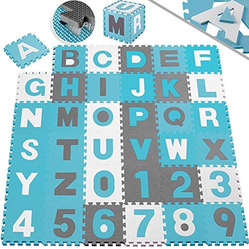 KIDIZ® 86 teilige Puzzlematte Kinderspielteppich Spielmatte Spielteppich Schaumstoffmatte Kinderteppich, Puzzle Zahlen und Buchstaben, Maß je Matte ca. 31,5 x 31,5 cm Schutzmatte Blau
