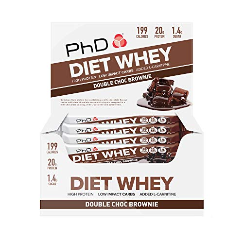 PhD Nutrition Diet Whey Bars, Double Chocolate, PHD-DWB-DC