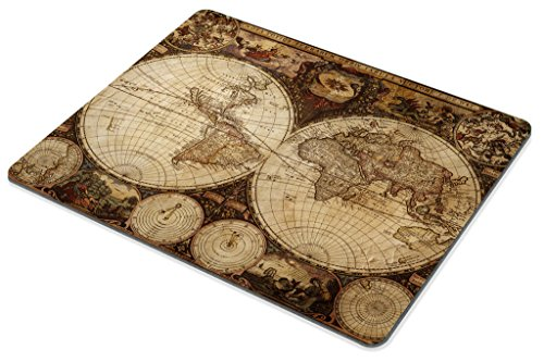 Smooffly Vintage World Map Mouse pad , Image of Old Map in 1720s Nostalgic Style Art Historical Atlas Mouse Pad,Brown Beige Photo #4