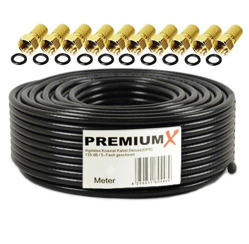 50m PremiumX Deluxe PRO Koaxial Kabel SCHWARZ 135dB 5-Fach geschirmt, reines Kupfer SAT Antennenkabel 50m 135dB Neu + 10x F-Stecker 8,0mm goldfarbig