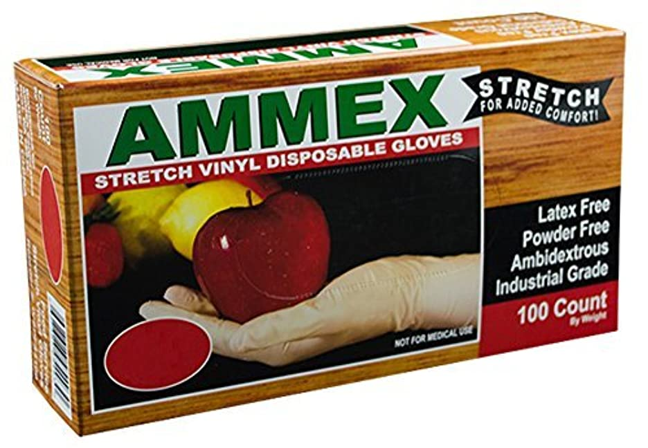 あからさま刈るピークAMMEX - IVSPF44100 - Stretched Vinyl - GlovePlus - Disposable,Powder Free,4 mil,Medium,Clear (Case of 1000) [並行輸入品]