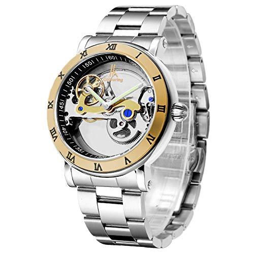 IK See Through Automatic Mechanical Watch for Men Luxury Steampunk Bling Minimalist Golden Bezel Silver Steel Roman Numerals Wristwatch