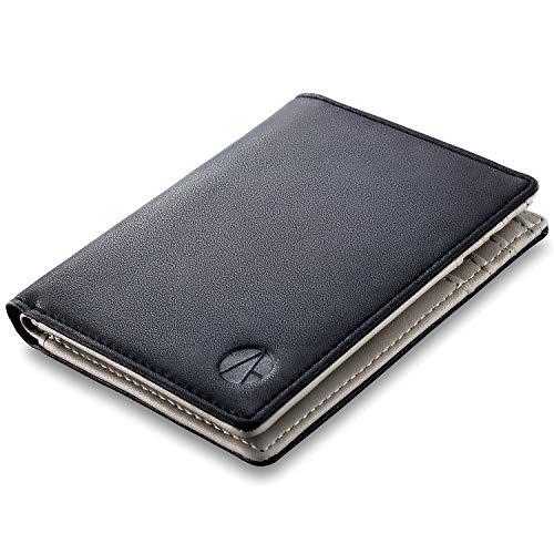 Portafoglio uomo e-GALE - Con Protezione RFID - Elegante e Compatto - Tanti Scomparti per Tessere, Banconote, Monete, Carte di Credito - Confezione Regalo - Nero e Grigio