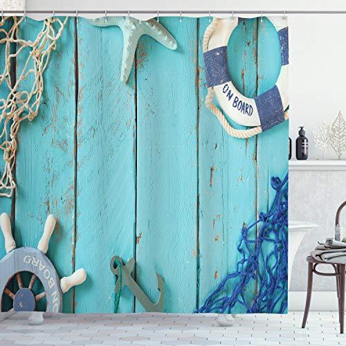 ABAKUHAUS Jahrgang Duschvorhang, Landschaft des nautischen Ozeans, mit 12 Ringe Set Wasserdicht Stielvoll Modern Farbfest & Schimmel Resistent, 175x180 cm, Türkis Marineblau Weiß