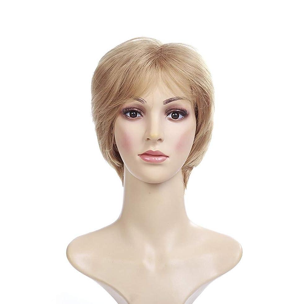 戦略葉っぱ人口Yrattary 女性フルボブウィッグ+フリーキャップのための合成ショートストレートブロンドウィッグ (色 : Blonde)