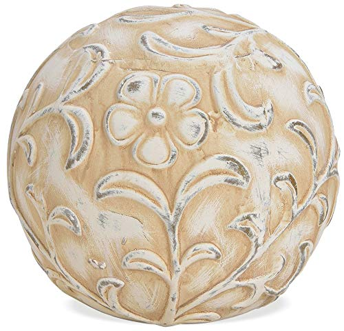 matches21 Dekorative Deko Kugel Gartenkugel mit Blumenmuster aus Ton weiß beige antik Tonkugel 1 STK - 19x19x18 cm