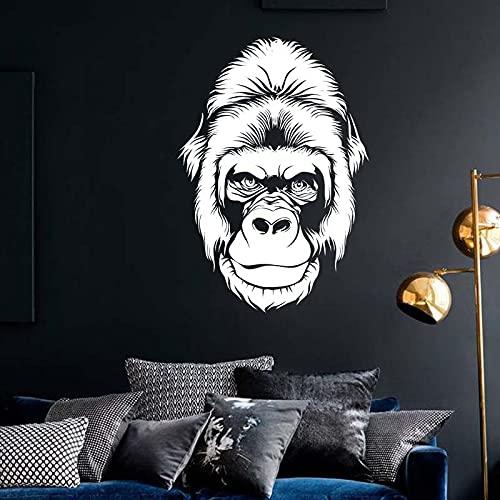 Opprxg Cabeza de Gorila en Blanco y Negro Mono Gorila calcomanía de Vinilo de Dibujos Animados 115x165cm