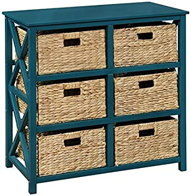 3 Tier X-Side Storage Cabinet with 6 Baskets (Teal)
