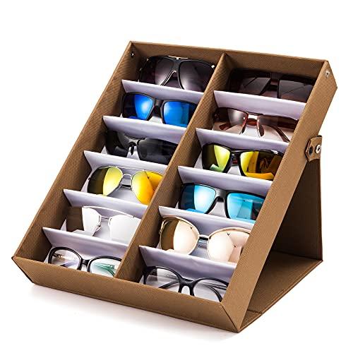 TRIUMPH VISION Bandeja para gafas de sol con 12 ranuras para organizador de gafas, soporte para gafas de sol