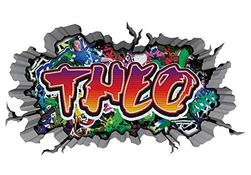 3D Wandtattoo Graffiti Wand Aufkleber Name THEO Wanddurchbruch sticker Boy selbstklebend Wandsticker Jungenddeko Kinderzimmer 11MD1339, Wandbild Größe F:ca. 140cmx82cm
