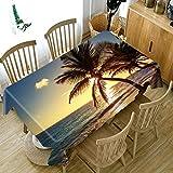 Mantel Mesa de Comedor Cocina Cocotero Junto al Mar Azul Patrón Serie Paisaje Poliéster Rectangular Manteles Impermeable Lavable Resistente a la Suciedad Regalo del Día de Padre 140x180cm