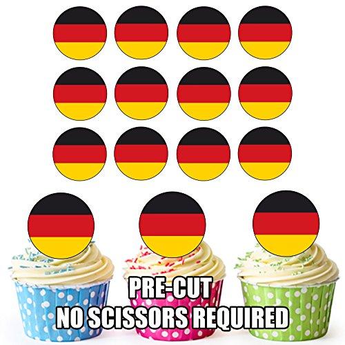 Duitsland Vlag - 24 Eetbare Cupcake Toppers/Verjaardag Cake Decoraties - Easy Precut Circles
