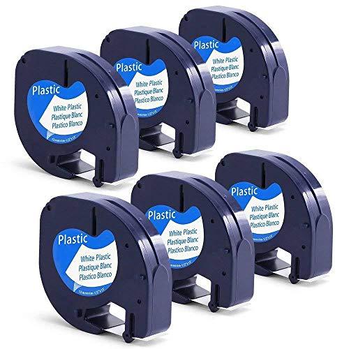 Pack de 6 uds x Compatible con DYMO LetraTag 91201 S0721610 Cintas de Negro sobre blanco Plastico Cinta de etiquetas, Compatible con DYMO LetraTag LT-100H, LT-100T, LT-110T, QX 50, XR, XM Label Makers