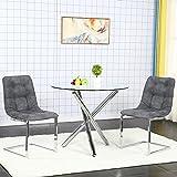 Conjunto de Mesa Comedor Redonda y Sillas Comedor, Mesa Auxiliar Comedor de Vidrio Templado, 2 Sillas Salon, Gris