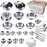 KEJIH 32pcs Kitchen Pretend Play Accessories ,Mini Stainless Steel Cookware Set with Portable Storage Box,Cooking Utensils,Play Pots and Pans, Role Play Educational Toys for Kids Toddlers Boys Girls