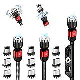 Senshin マグネット ケーブル ライトニング/Type c/Micro usb 充電ケーブル USB2.0 アイフォン/Android/Type-C For iPhone 12 / 12 Pro / 12 Pro Max / 11 / XR/SE/Galaxy など対応 (1m+1m+2m)