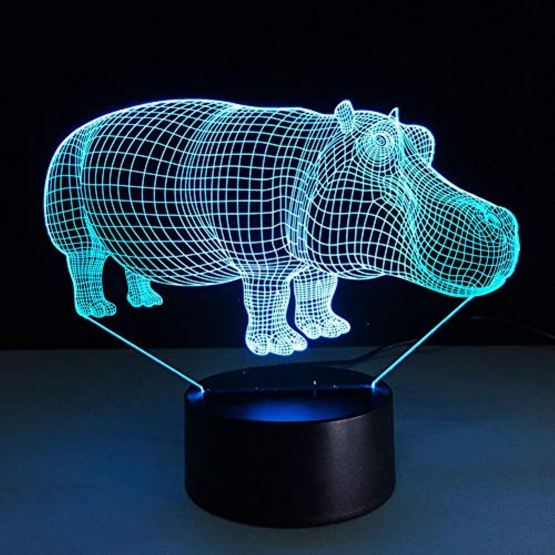 Laofan Bunte Steigungs-Nachtlichter 3D Rhino führte Hauptbeleuchtungs-Atmosphre-Tischlampe-Feiertags-Beleuchtungs-Dekor-Nachttisch,Berührungsschalter