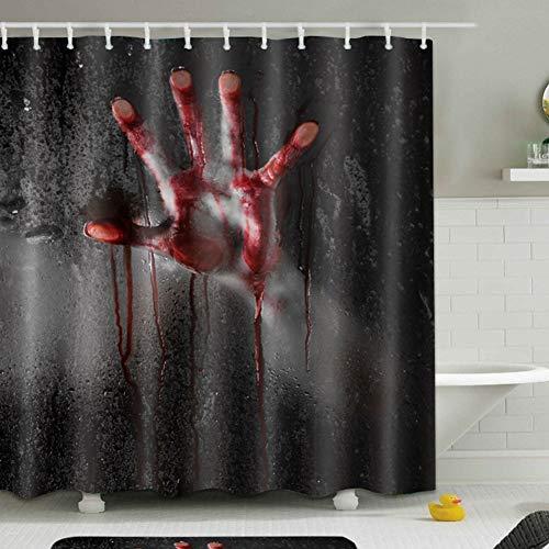 LHUAN 3D Blutige Hand Duschvorhang Halloween Horror Bad Duschvorhang Hohe Qualität Wasserdicht & Mehltau Wirkung Einschließlich 12 Duschvorhang Ringe (180 * 180 cm),180 * 200