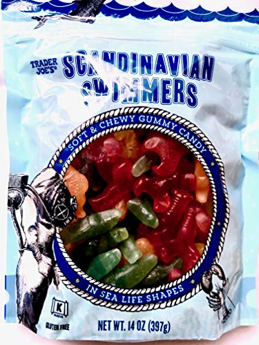 3-Pack Trader Joe's Scandinavian Swimmers 14 OZ - Soft & Chewy Gummy Candy, In Sea Life Shapes, Gluten Free, Kosher