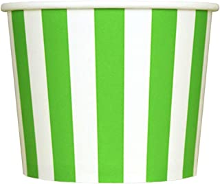 Green Paper Ice Cream Cups - 12 oz Striped Dessert Bowls - Perfect For Your Yummy Foods! Many Colors & Sizes - Frozen Dessert Supplies - 50 Count