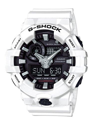 Casio Men's G Shock Quartz Watch with Resin Strap, White, 25.8 (Model: GA-700-7ACR)