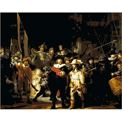 Diy Pintura Al Óleo Digital Rembrandt La Guardia Nocturna Digital Pintura Al Óleo Regalo Para Adultos Niños Pintura Por Numero Kits Decoración Del Hogar 16X20 Inch