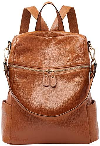 BOYATU Convertible Genuine Leather Backpack Purse for Women Fashion Travel Bag Caramel
