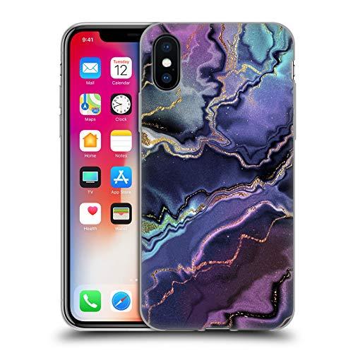 Head Case Designs Licenza Ufficiale Monika Strigel Porpora 3 Onde da Sogno Marmoreo Cover in Morbido Gel Compatibile con Apple iPhone X/iPhone XS