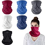 Face Coverings 6 Pack, Multifunctional Headwear Bandana Face Scarf Tube Snood, Windproof Motorcycle Cycling Face Cover Balaclava Bandanas Neck Gaiter Headband Snoods for Men Women Sun Protection