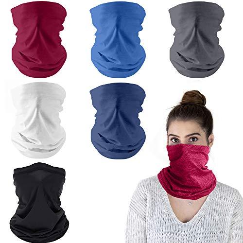 Paquete de 6 protectores faciales multifuncionales para la cabeza, pañuelo para la cara, para motocicleta, ciclismo, pasamontañas, polainas para el cuello para hombres mujeres, protección solar
