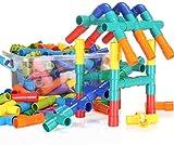 QUCHENG 178Pcs Builder Rod Juguetes Tubos Juguetes Candados de Tubos Bloques de construcción Juego de construcción Tubos tubulares Juego Contenedor Juguete Educativo de ingeniería para niños