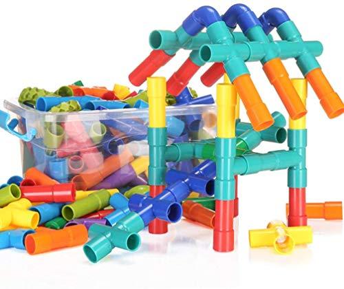 QUCHENG 178pcs Builder STEM Spielzeug Rohre Spielzeug Rohrschlösser Bausteine Baukasten Rohrrohrset Container Behälter Pädagogisches Spielzeug für Kinder