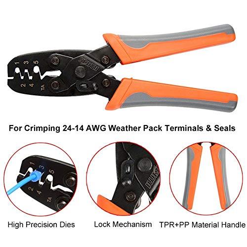 Iwiss IWS-1424B Crimpzange zum Crimpen von Delphi Packard Weather Pack Terminals oder Metri-Pack Steckverbindern