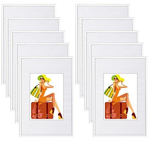 WOLTU #315 Bilderrahmen Bildergalerie Fotogalerie mit Passepartout, Foto Collage Galerie, Kunststoff und Echtglas, New Life Style, Weiss, 10x15 cm, 10er Set