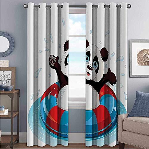 Animal Decor Collection - Cortina de colores resistente al desgaste, diseño de panda flotante sobre el agua con salvavidas en la piscina, 2 paneles (52 x 200 cm), color azul, rojo y marrón